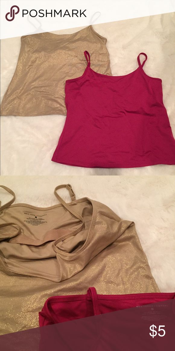 New York & Co Shelf-Bra Camisoles One in gold and one in a pretty cranberry color. Both like new. Both Larges. New York & Company Tops Camisoles