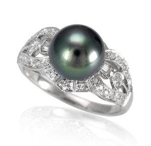 Luksusowy złoty pierścień z perłą Tahiti