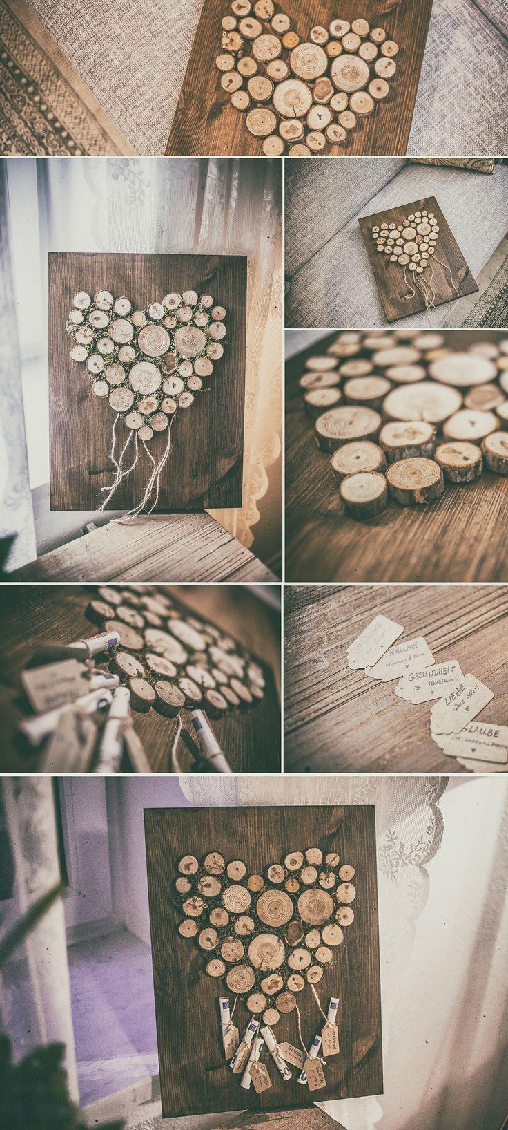 Hochzeitsgeschenk Inspiration – Ein Herz aus Holzscheiben und Moos aufgeklebt au…