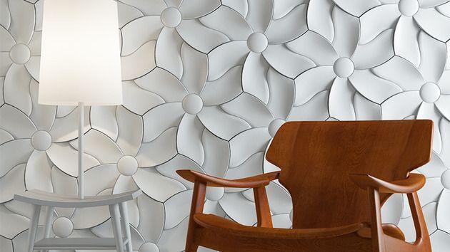 textural concrete tiles  relief motif petal Designed by Akos Horvath http://www.kazaconcrete.com/mystile/collection/design.html