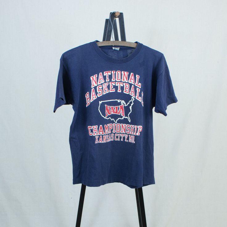 Vintage 80s Large Kansas City National Basketball College Championship T-Shirt