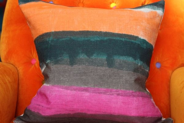 Hand Printed by Smitten Design - Cushion Cover in Orange/Pink/Green 45cm x 45cm