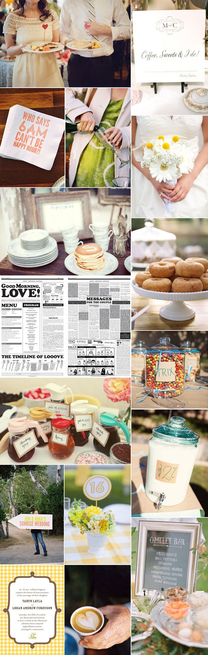 SUPER cute idea! Breakfast or Brunch Wedding for an early morning wedding
