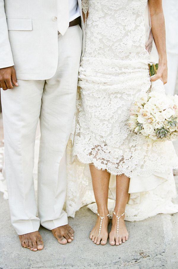 small beach wedding ceremony ideas%0A Bare foot jeweled sandal for beach wedding