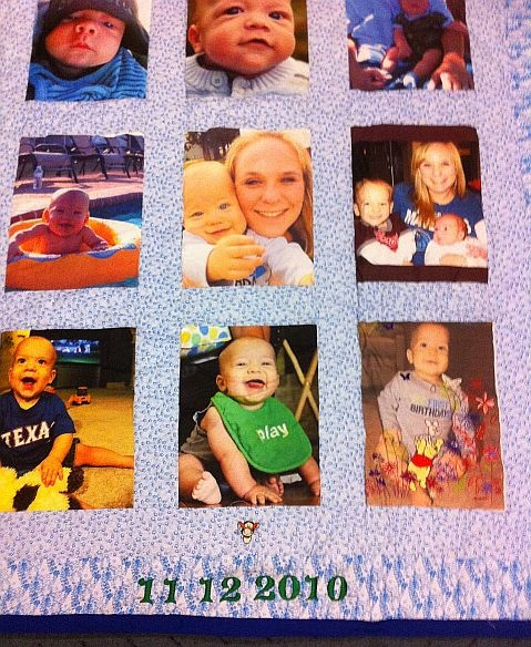 "A new memory quilt about baby's 1st year.  All are handmade with ""your"" photos.  Located in the DFW area."