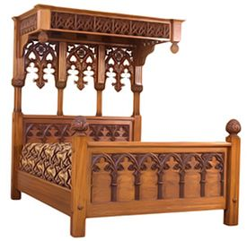 Royal Gothic Half Tester Bed; Design Style: Tudor Jacobean (1465-1625)   Oak USA Queen Size 64ins by 80ins $4,627.00