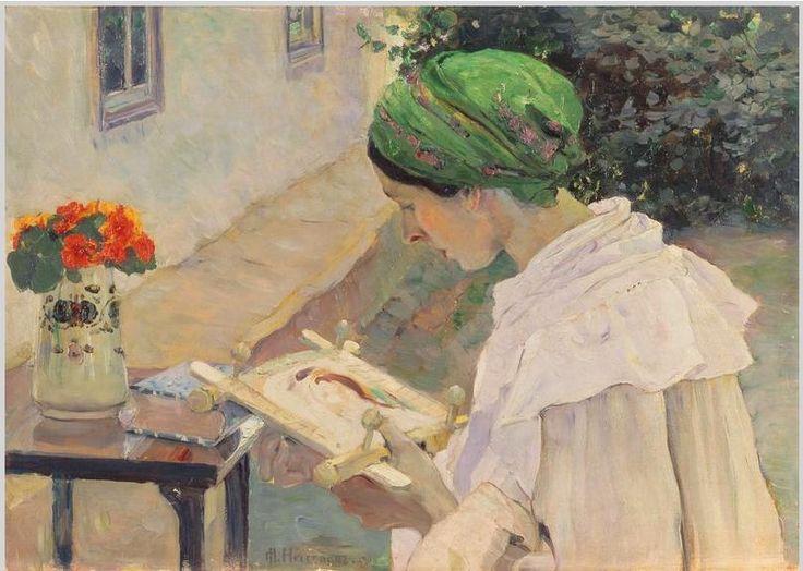 """AUTOR:М.В. Нестеров """"Портрет жены с рукоделием"""" «Впечатления дороже знаний...» - Рукоделие в живописи. За вышиванием."""