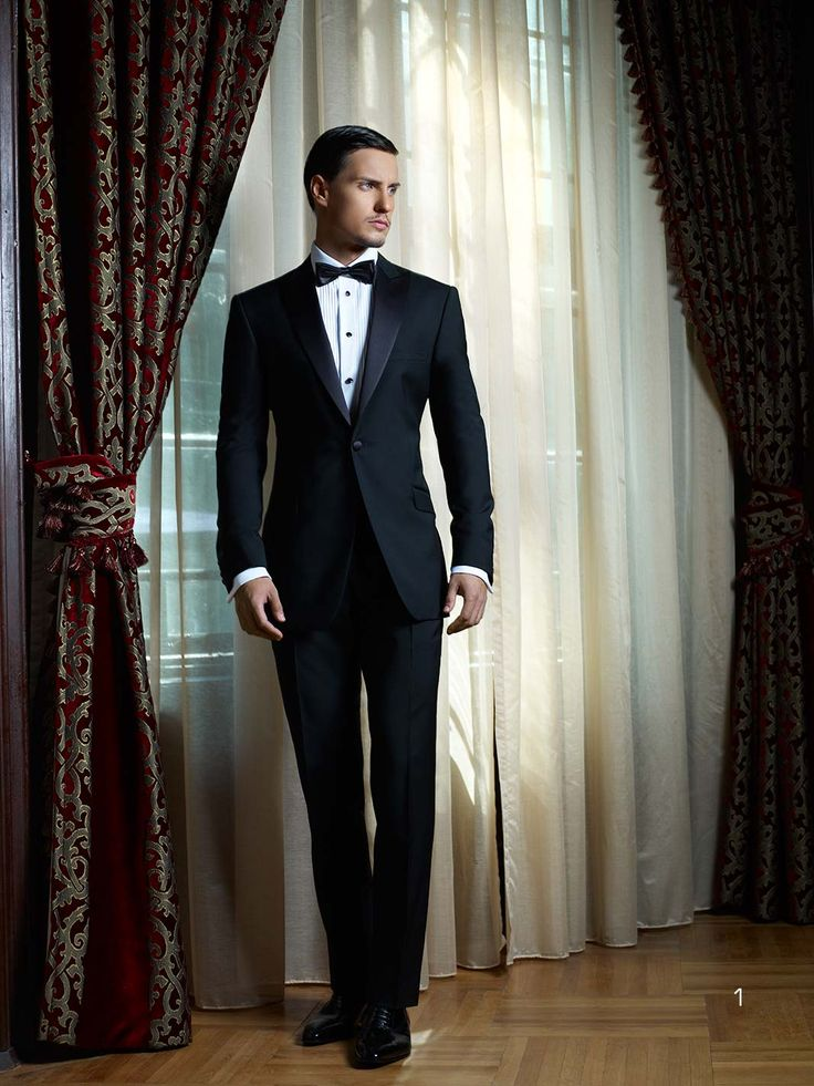 Formalwear - Dinasty Tux || pink bow ties for groomsmen and a champagne bow tie for groom (or maybe reverse that?)