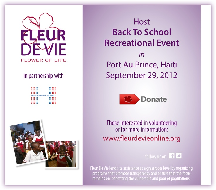 Help support Fleur de Vie's Back To School Event in Haiti. Please consider donating, any amount helps! To give, go to http://www.fleurdevieonline.org/  Feel free to spread the word.  #Haiti #backtoschool #Kids