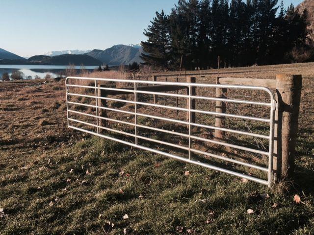 Sturdy pipe gate on a beautiful West Wanaka farm