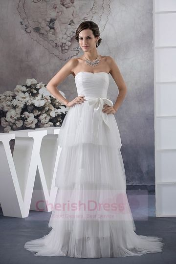 Concise Style Empire Pleats Tiers Sweep Dress with Bow - Wedding Dresses - WEDDING APPAREL