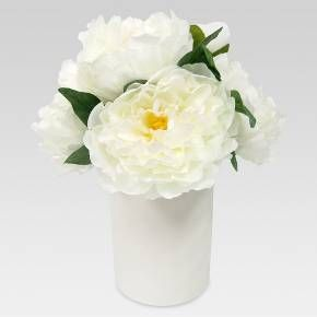 Peonies are the flower of the hour and now they'll be forever in bloom with this White Large Artificial Peony Arrangement from Threshold. The versatile potted peony blend perfectly well with any decor, be it modern or rustic. This simple yet stylish bundle requires nothing more than a great place to call home. This artificial plant boasts a big white bloom with accent green leaves.