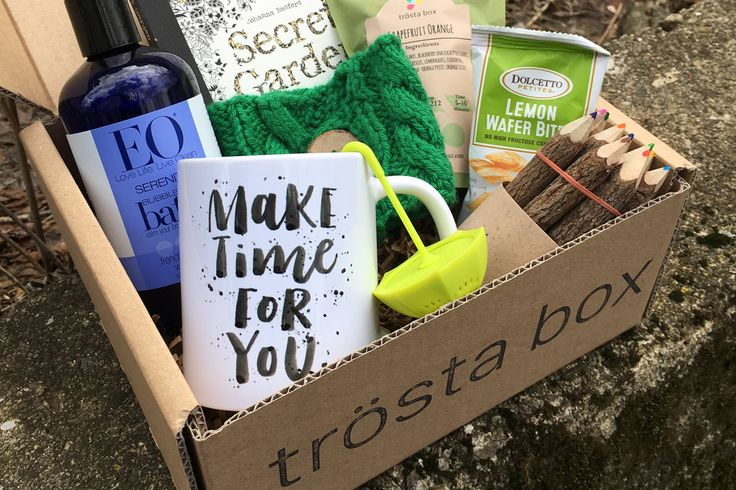 trösta box is a monthly subscription box with items to help you love and care for yourself better.