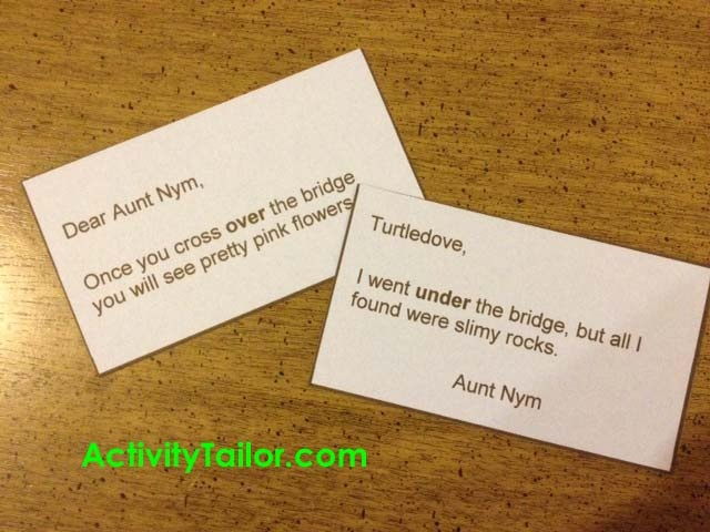 letters to aunt nym copy - fun with antonyms