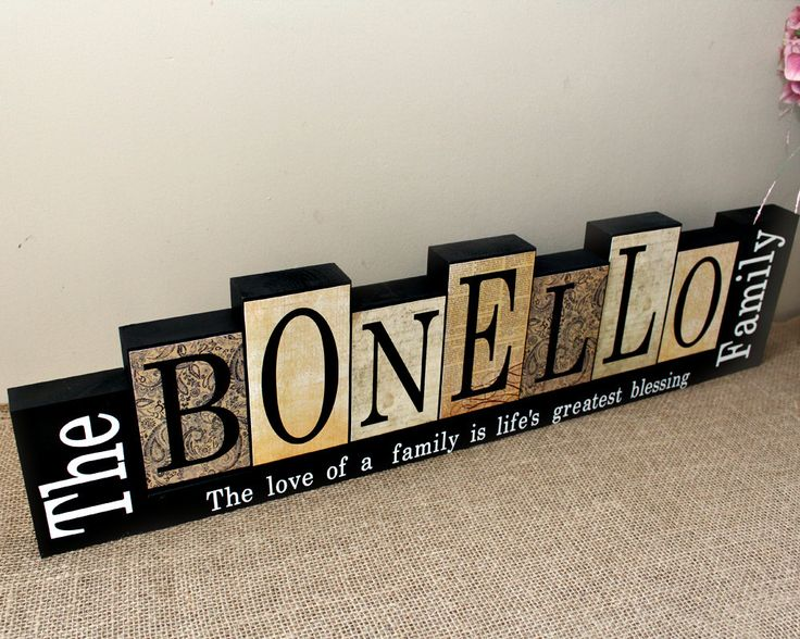 Family Name Wood Sign, Gift for Parents, Christmas Gift, Family Name Sign, Mantle Decor, Family Name Decor, Housewarming Gift, 7 Letters