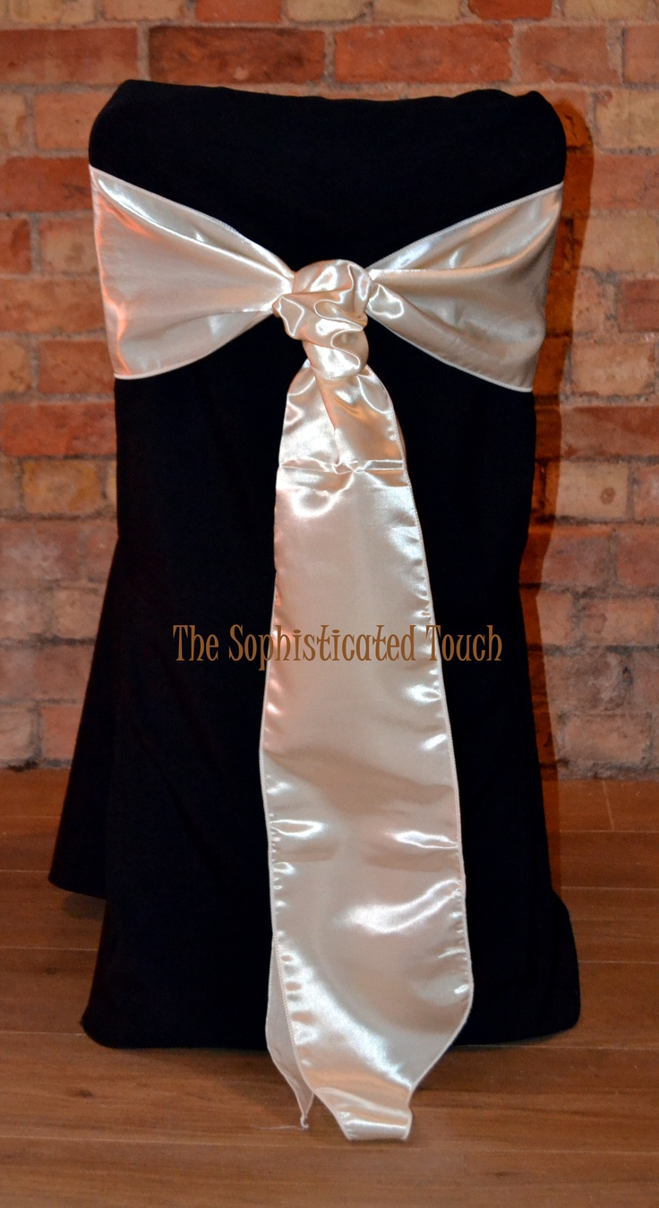 Black Chair Covers with Ivory Satin Cravat
