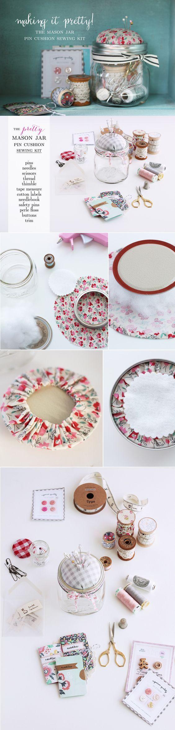 The Mason Jar Pin Cushion Stitching Equipment. #Crafts #diy: