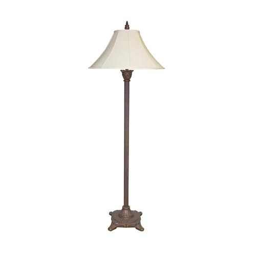 Tropical Olde Bronze Floor Lamp With Cream Silk Shade