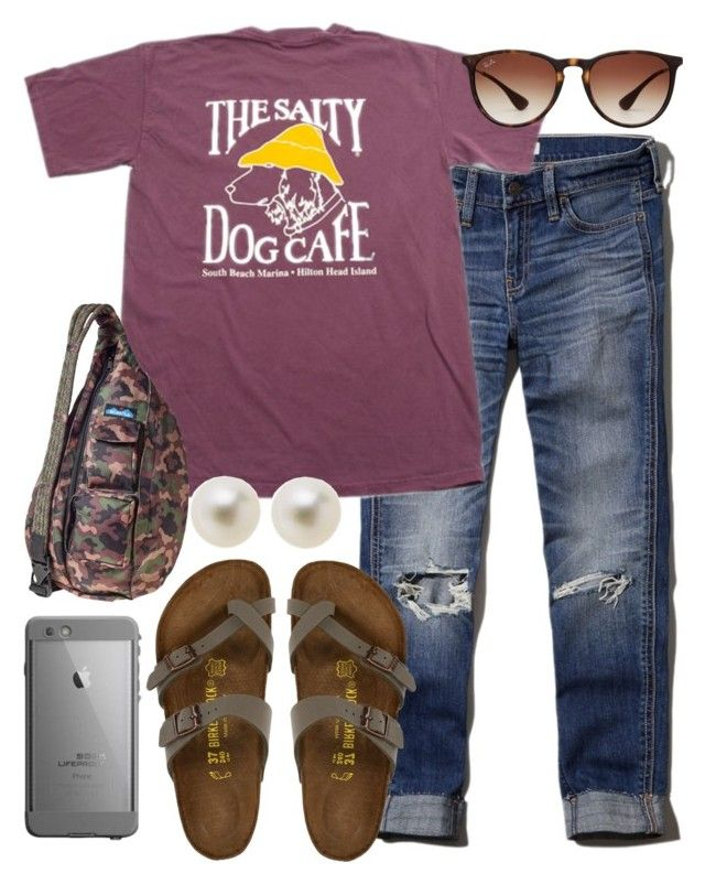 """can't wait to wear chacos & Birks again"" by kierstinmoyers ❤ liked on Polyvore featuring Abercrombie & Fitch, Birkenstock, J.Crew, Ray-Ban, Kavu, women's clothing, women's fashion, women, female and woman"