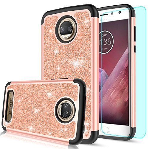 Moto Z2 Play Case With Screen Protector Luxury Glitter Silicone Faux Leather New #MotoZ2PlayCase