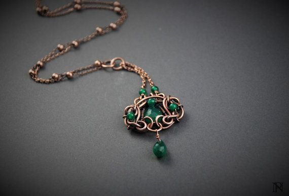 Wire wrapped copper pendant green onyx pendant necklace christmas gift