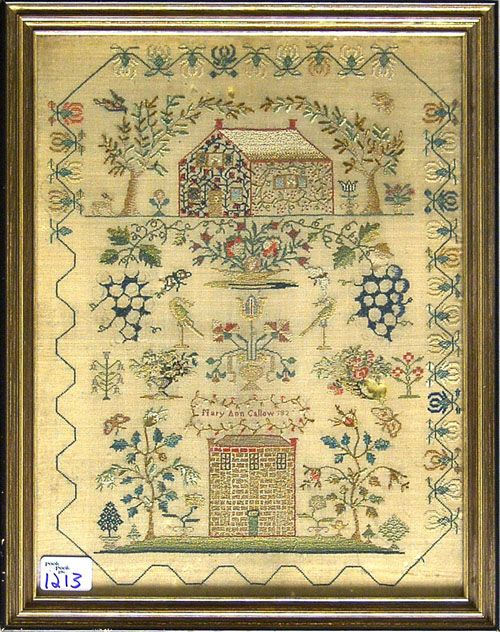 Mary Ann Callow 1820. Almost finished, dear Mary. What I love most about this sampler is the way the top house is covered in flowers and vines. And a honeysuckle border is always a plus.