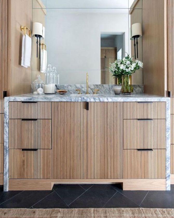 Design Trend 2021 Reeded Wood Cabinetry Becki Owens In 2021 Cabinetry Design Cabinetry Beautiful Bathrooms Wood bath vanity beautiful bathroom