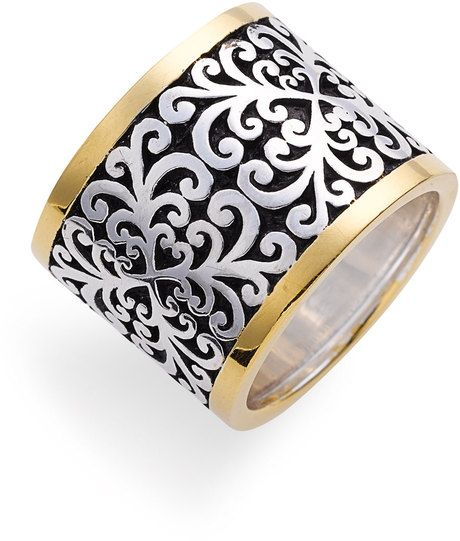 Lois Hill Silver 2tone Cigar Band Ring