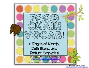 Use these pages to help boost vocabulary during your Food Chain Unit!I cut each page apart, and have students find the