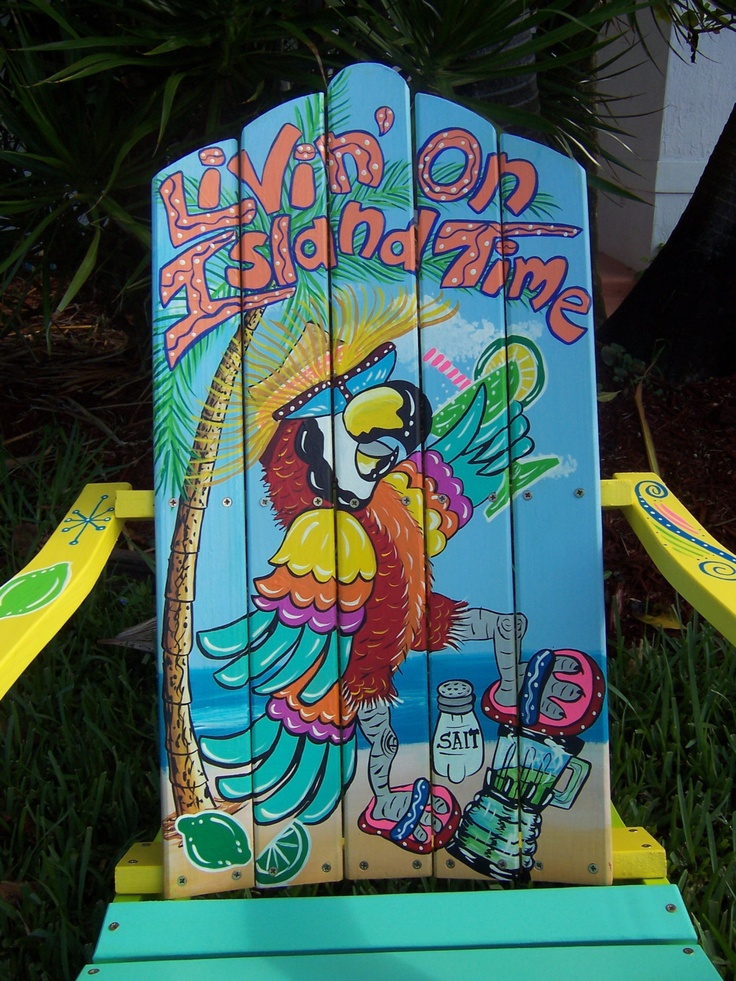Tropical Adirondack Chair Handcrafted Hand Painted Livin On Island Time Parrot Margarita. $375.00, via Etsy.