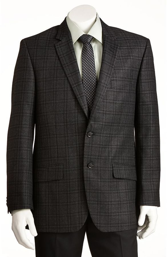 $195, Charcoal Plaid Blazer: Haggar 1926 Originals Straight Fit Glen Plaid Charcoal Suit Jacket. Sold by Kohl's. Click for more info: https://lookastic.com/men/shop_items/1745/redirect