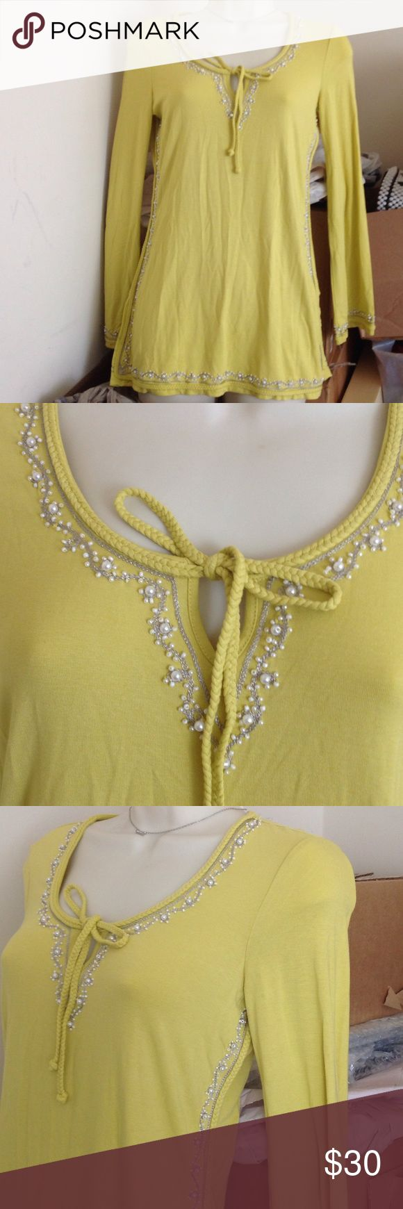 INC yellow long sleeve top tunic Beautiful yellow long sleeve tunic top with pearl and beads decoration on sleeve, down the sides and around neck.  Petition size from Macy's I.N.C. Brand.  Brand new never used.  A bit wrinkled from being stored. INC International Concepts Tops Tunics