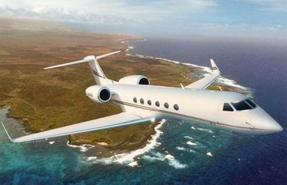 Jim Carrey: Gulfstream V - The funny man of Hollywood has made a great investment in the Gulfstream V, famed for its high performance and secure factor. It can seat 16 passengers and flies with a supersonic speed.