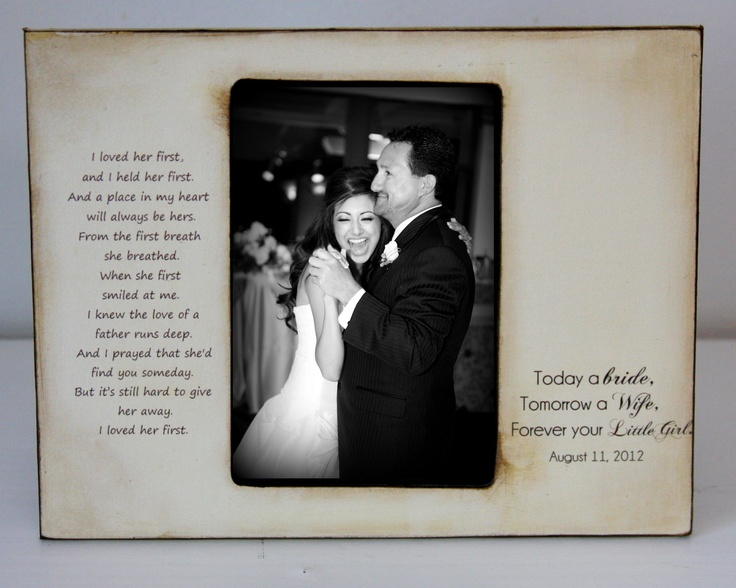 Father Daughter Dance Rustic Distressed Gift Personalized Father of the Bride Wedding Picture Frame 4x6 Keepsake. $41.00, via Etsy.
