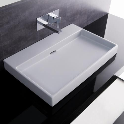 Bath Collections Urban 70 White Wall Mount or Countertop Bathroom Sink ...