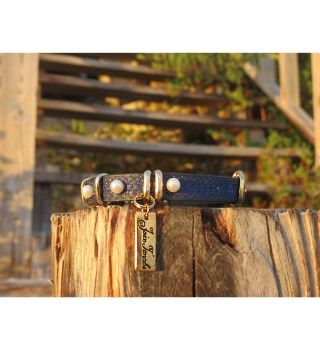 JT Navy Blue and Blue Leather Bracelet