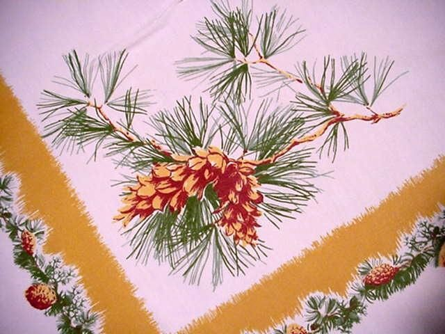 VIntage 50u0027s PINE CONE Large CHRISTMAS Tablecloth MIDCENTURY Greenery NICE