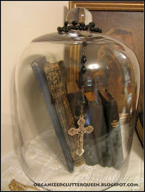Organized Clutter: Crosses and Bibles Cloche Vignette