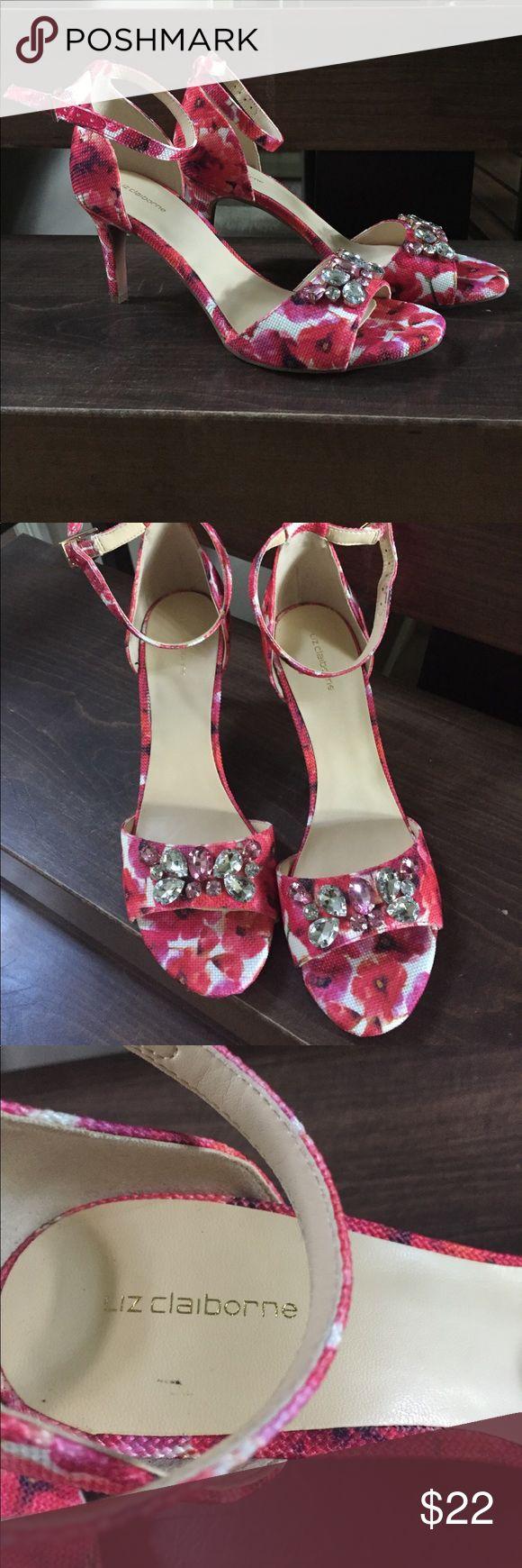 LIZ Claiborne Sandals Liz Claiborne high heels sandals in floral design with sparkly embossments . Liz Claiborne Shoes Sandals