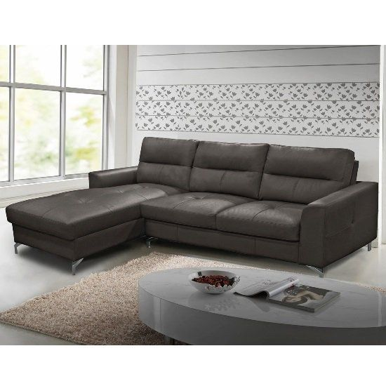 Left Corner Sofa In Grey Faux Leather