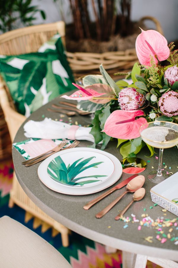 Tropical infused NYE party: http://www.stylemepretty.com/living/2016/12/30/4-tips-for-the-cutest-ever-non-traditional-new-years-eve-party/  Photography: Heather Kincaid - http://heatherkincaid.com/