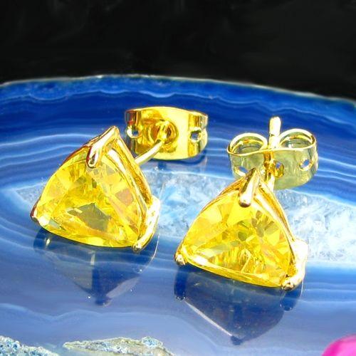 Cercei triunghiulari placati cu aur galben 18k cu topaz galben
