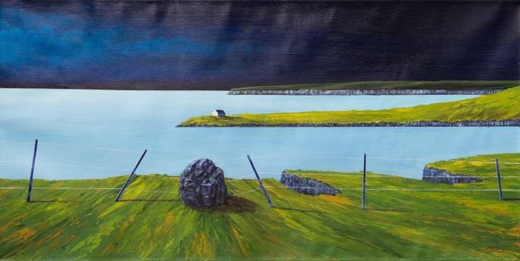Ronnie Ford: Island Dreams, 2016, Mixed Medium on Canvas, 50 x 100 cm. Island dreams convey Ronnie Ford's magnificent projections of the modern desire to flee from the cacophony of everyday life into the calm, vast, meditative spaces of the natural world. This is achieved via the use of muted tones of blues and greens, a stark contrast to the vibrancy of colours in his other works.