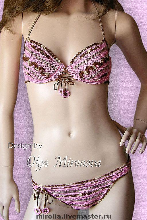 """Купить Купальник """"Розовый шоколад"""" - Вязаный купальник, купальник ключком, купальник вязаный, скидка"""