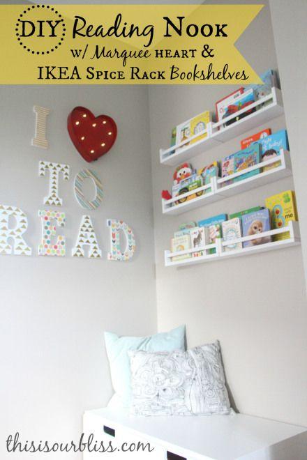 DIY Reading Nook w/ IKEA spice rack bookshelves