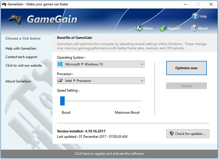 GameGain  is a game performance optimizer, allowing games run faster and smoother. Make your games run faster with GameGain