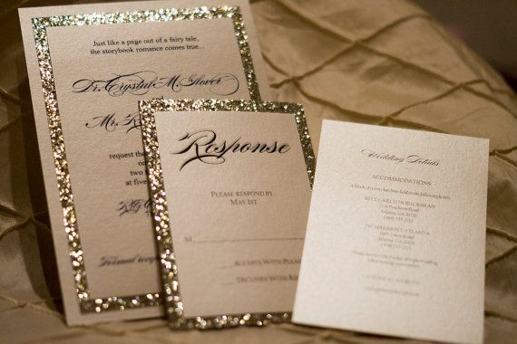 Gold & Silver Glitter Wedding Invitation by OnSpecialOccasion