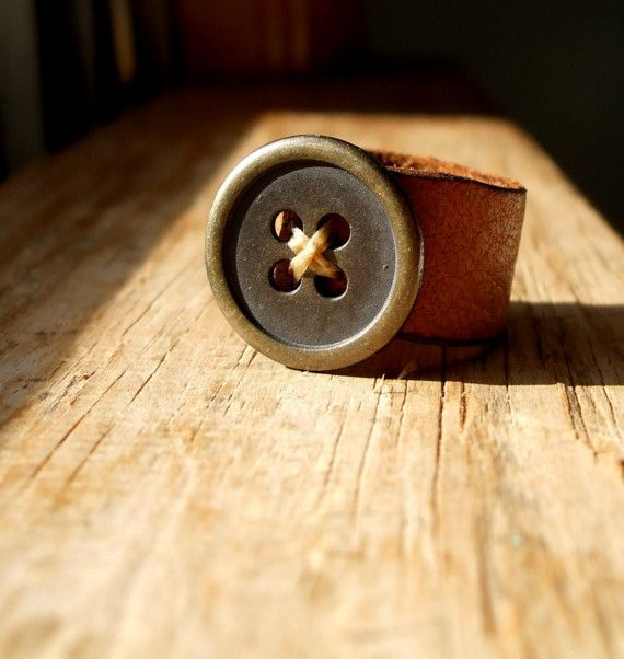 Leather button Ring