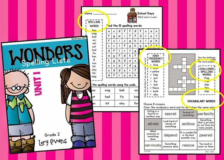 Spelling homework activities for 2nd grade
