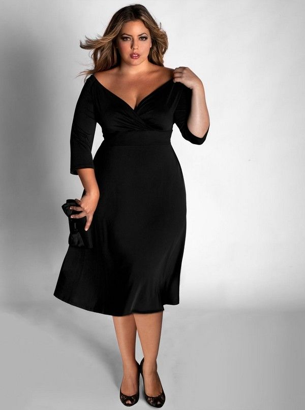 Plus Size Little Black Dresses With Sleeves